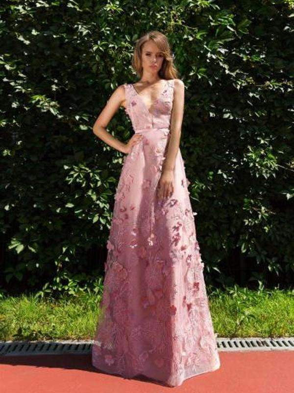 Newest Elegant Peach Lace Appliques V-back V-neck Sleeveless Prom Gown Dresses,PD00012