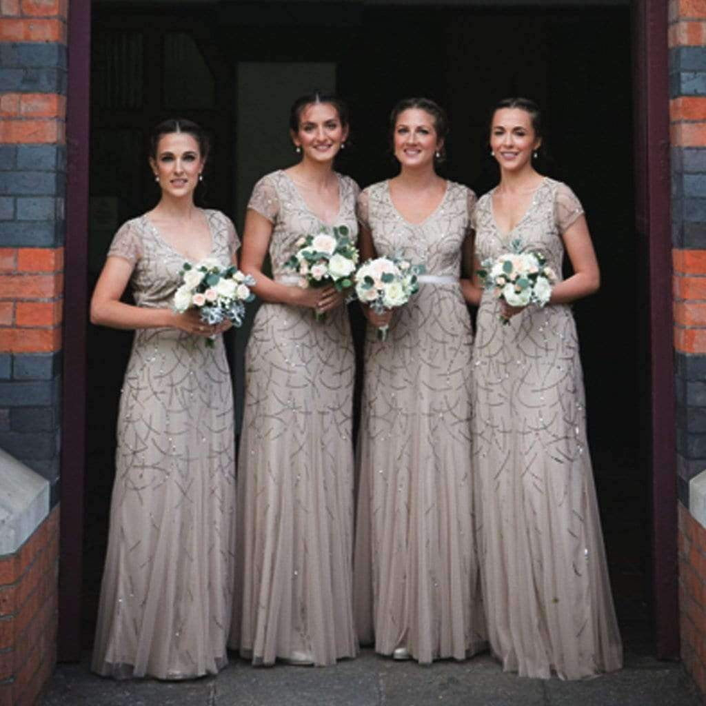Newest Short Sleeve Sparkly Sliver Sequins Beading Tulle  Long Bridesmaid Dresses, AB1178