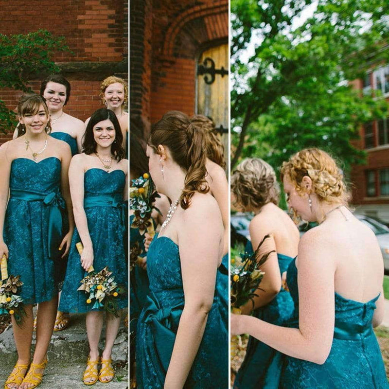 Newest Teal Sweetheart Strapless Lace With Satin Charming Short Bridesmaid Dresses, AB1174