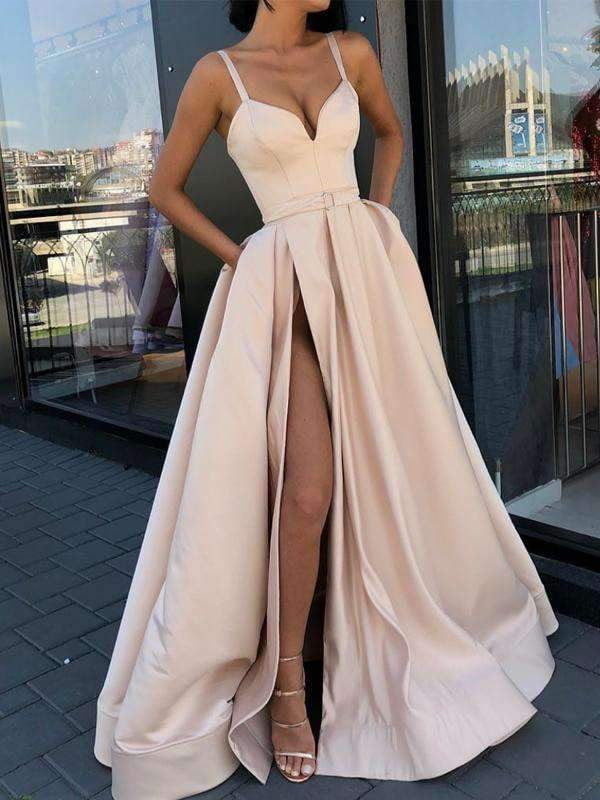 Nude Satin Spaghetti Strap Slit Sexy Prom Dresses,PD00156
