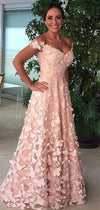 Off Shoulder Blush Pink 3D Butterfly Applique A-line Prom Dresses .PD00247
