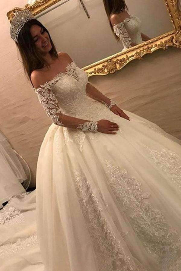 Off Shoulder Long Sleeves Open Back Lace Wedding Dress with Chapel Train W549
