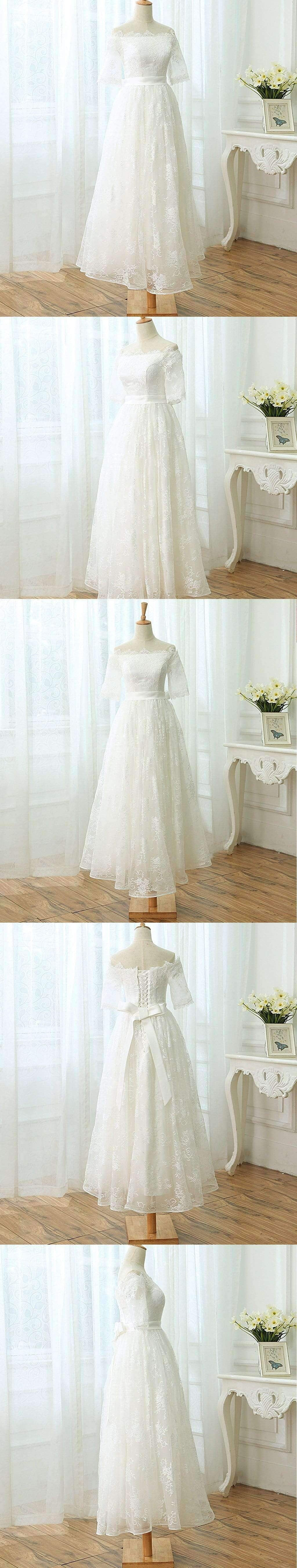 Off Shoulder Sabrina Neck Full Lace Half Sleeve Elegant Ankle-Length Wedding Dress, AB1102