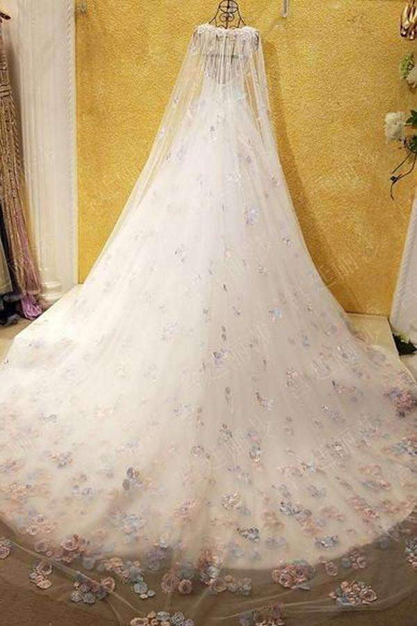 Off Shoulder Watteau Train Formal Dress,Long Sleeves Organza Wedding Dress with Lace
