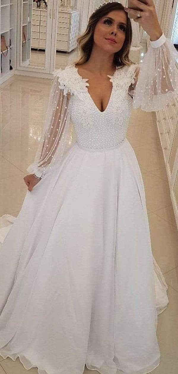 Off White Chiffon Beading Sheer Long Sleeve A-line Wedding Dresses , AB1537