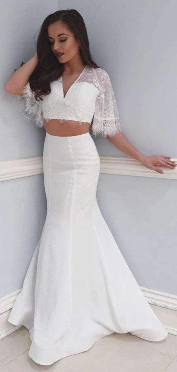 Off White Two Piece Lace Mermaid Boho Half Sleeve Wedding Dresses, AB1535