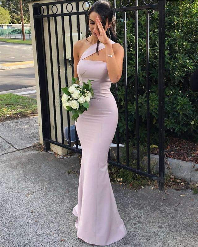 One Shoulder Sleeveless Satin Bridesmaid Dresses,Mermaid Prom Dresses