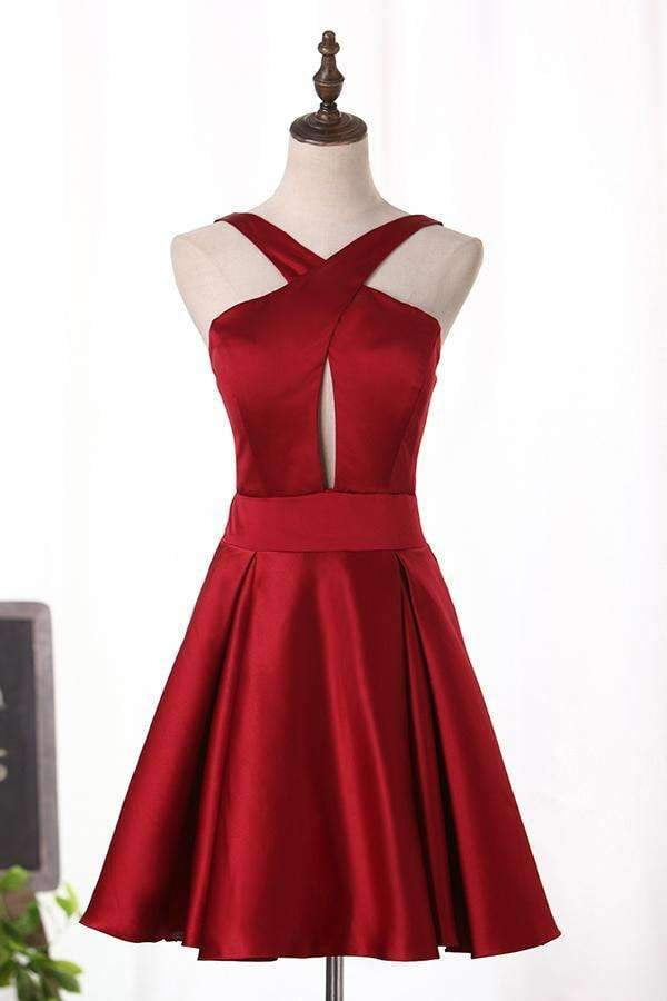Open Back Cocktail Dresses V Neck A Line Satin Homecoming Dress M493