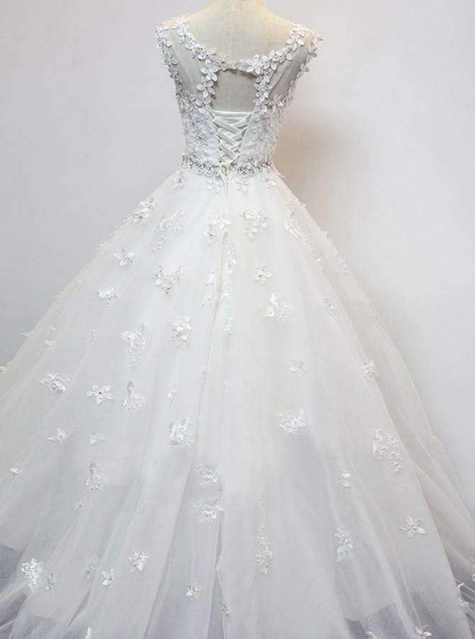 Organza Scoop Cap Sleeves Floor-Length Wedding Dress with Beading Appliques W31