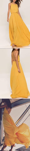Simple Yellow Chiffon Sexy Spaghetti Strap Criss-Cross Backless Charming Prom Dresses,PD00008