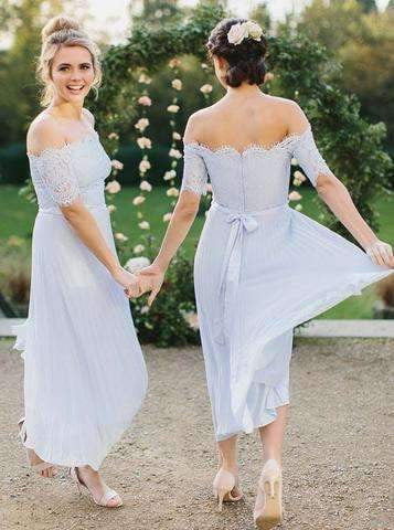 Pale Blue Chiffon Off Shoulder Ankle Length Bridesmaid Dresses, AB4025