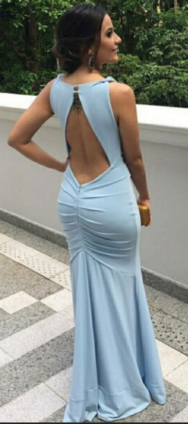 Pale Blue Jersey Open Back Mermaid Bridesmaid Dresses, AB4013