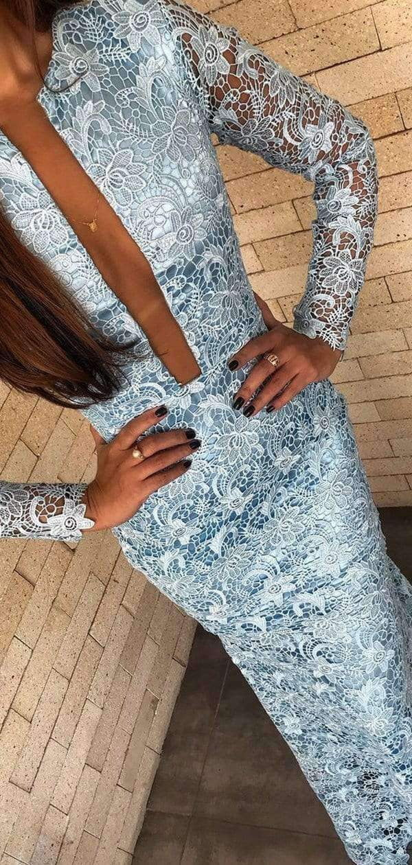 Pale Blue Lace Long Sleeve Sheath Illusion Back Prom Dresses,PD00203