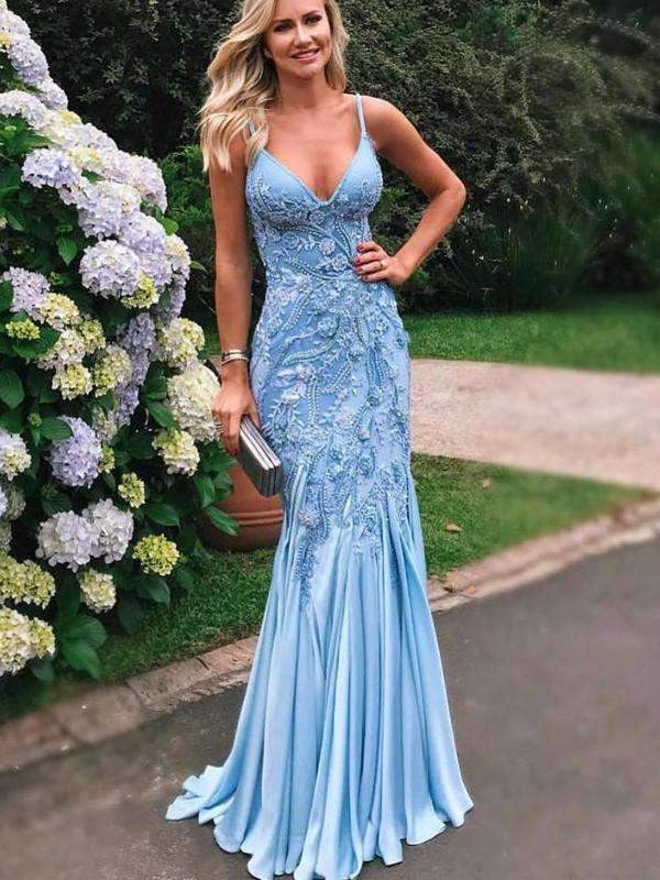 Pale Blue Soft Satin Applique Beading Mermaid Spaghetti Strap Prom Dresses.PD00218
