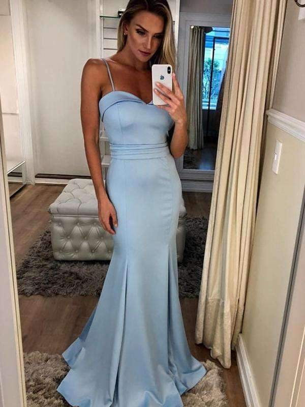 Pale Blue Spaghetti Strap Sweetheart Mermaid Charming Prom Dresses,PD00319