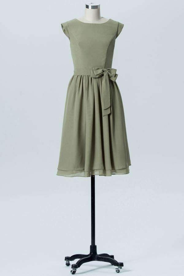 Pale Moss Green Capped Sleeve Short Bridesmaid Dresses,Bowknot Bridesmaid Gowns OMB78