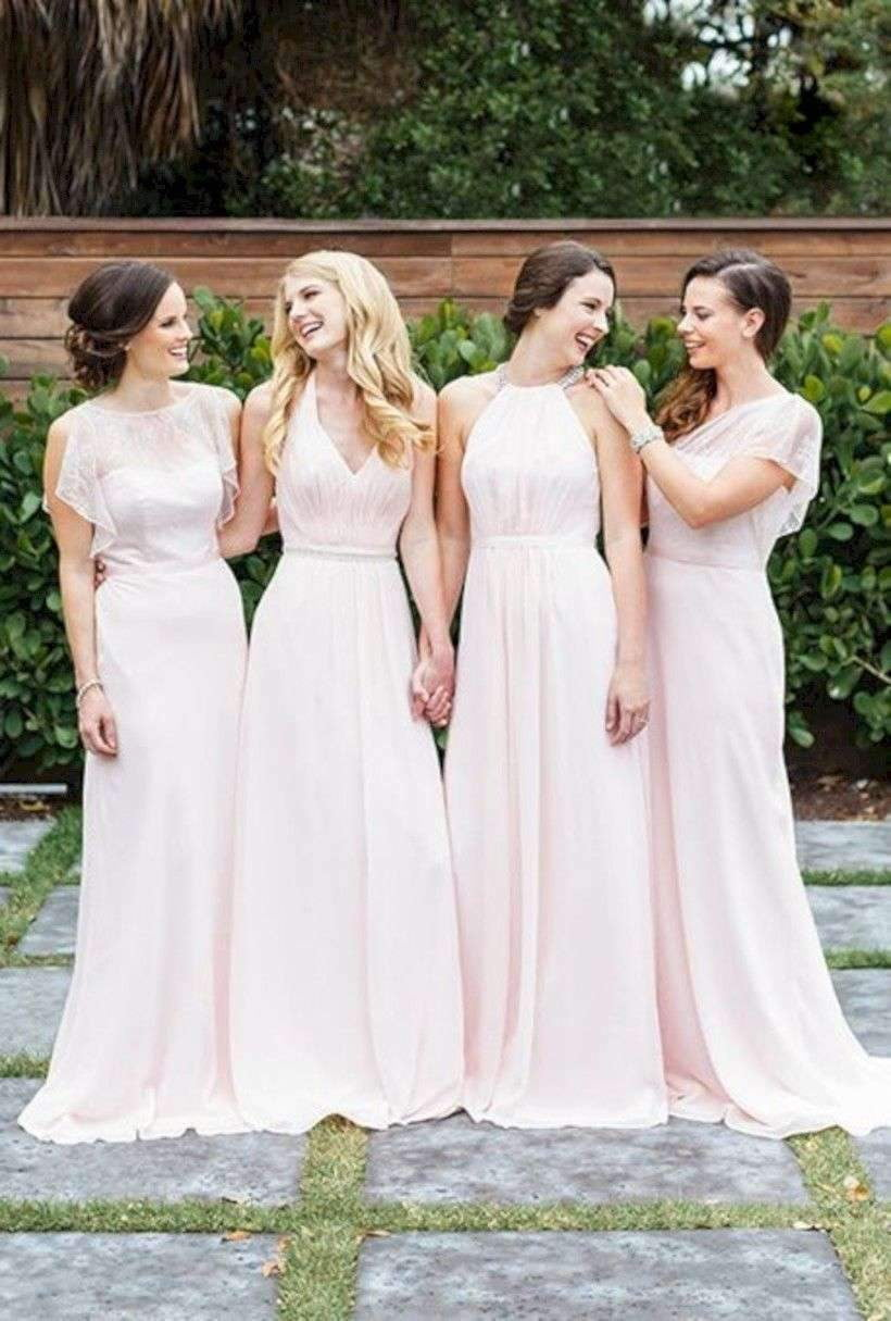 Pale Pink Sleeveless A Line Chiffon Long Bridesmaid Dresses