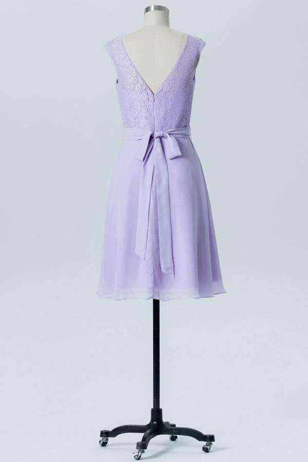 Pastel Lilac A Line Knee Length Sheer Neck Capped Sleeve Bowknot Bridesmaid Dresses B175