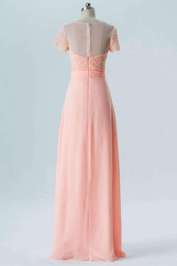 Peach Sherbet A Line Floor Length Sheer Nack Short Sleeve Open Back Bridesmaid Dresses B183