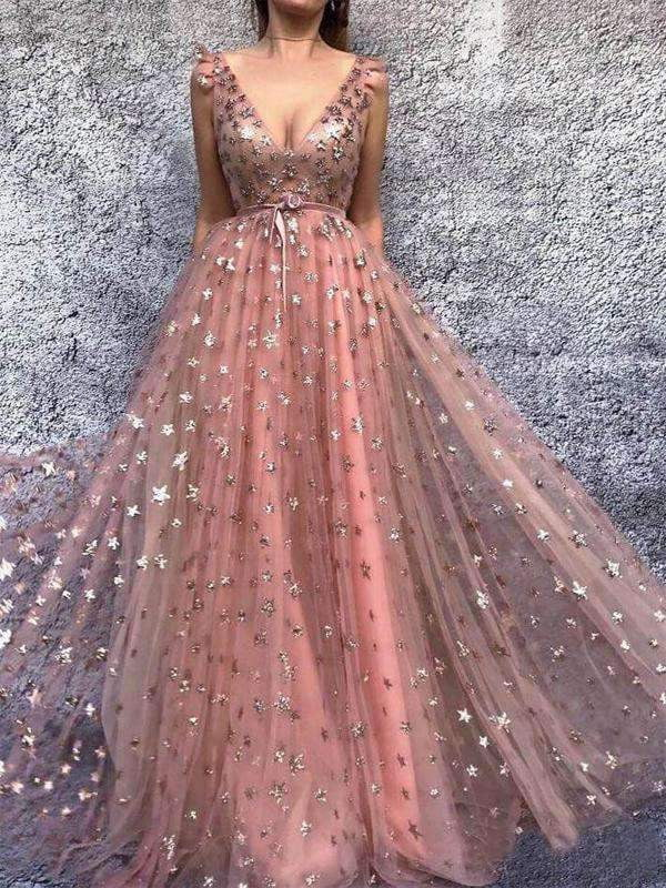 Peach Sparkly Star Sequin Tulle A-line Prom Dresses .PD00287
