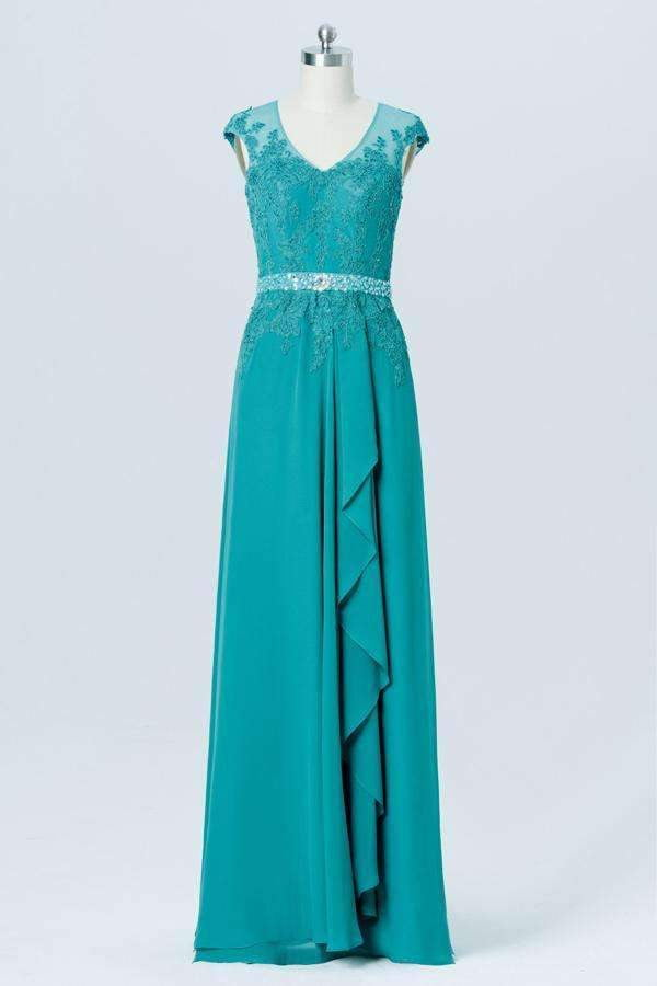 Peacock Green Sheer Back Bridesmaid Dresses,Appliques Beading Simple Bridesmaid Gowns OB108