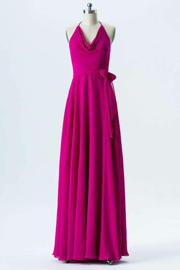 Peony A Line Floor Length Halter Sleeveless Open Back Bridesmaid Dresses B140