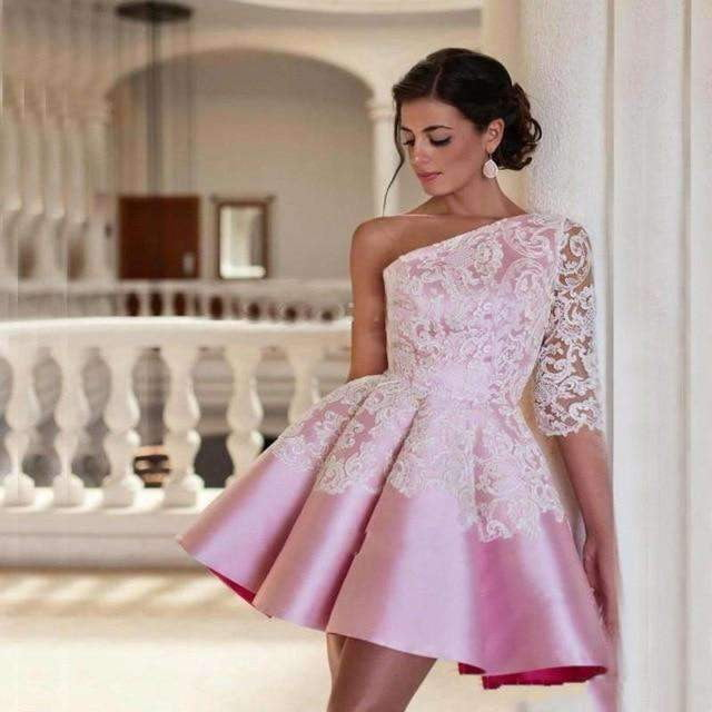 Pink 2019 A-line One-shoulder Half Sleeves Mini Satin Lace Homecoming Dresses