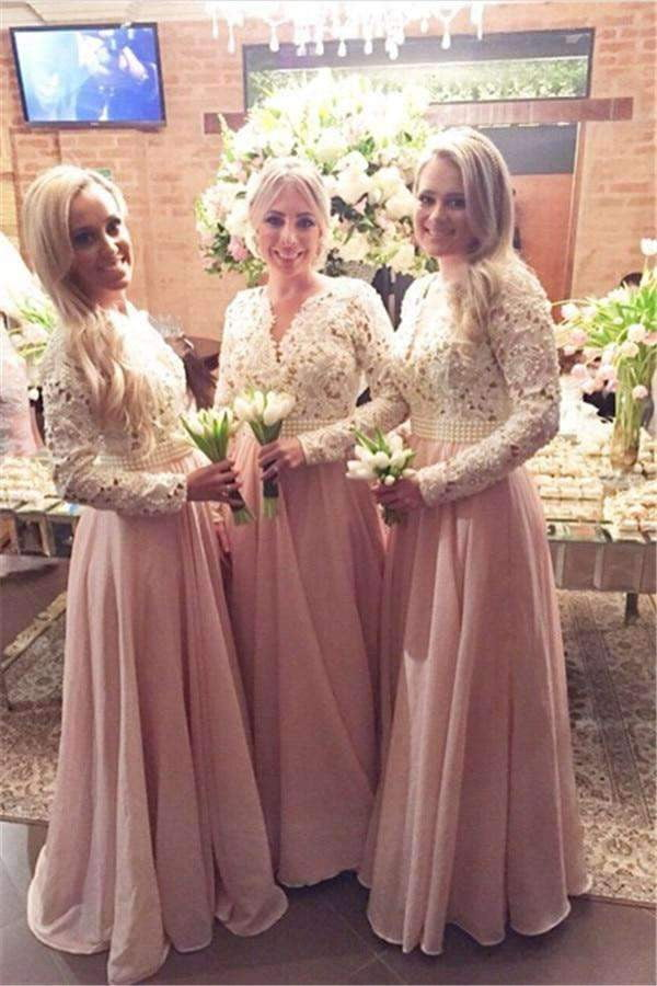 Pink 2019 Cheap Bridesmaid Dresses A-line V-neck Long Sleeves Chiffon Lace Pearls Wedding Party Dresses