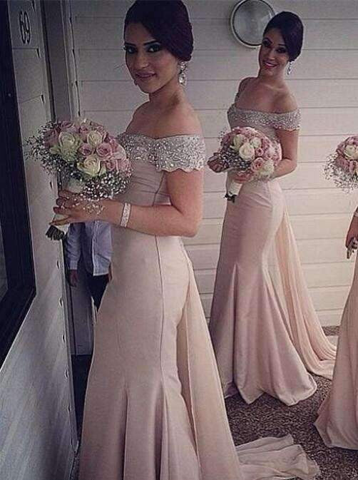 Pink 2019 Cheap Bridesmaid Dresses  Mermaid Off The Shoulder Chiffon Beaded Long Wedding Party Dresses For Women