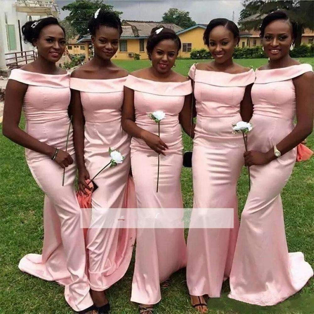 Pink 2019 Cheap Bridesmaid Dresses Mermaid Off The Shoulder Long Wedding Party Dresses For Women