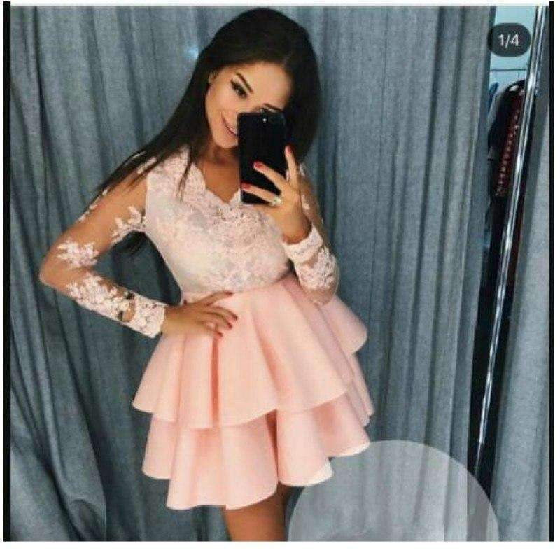 Pink 2019 Elegant Cocktail Dresses A-line V-neck Long Sleeves Appliques Homecoming Dresses