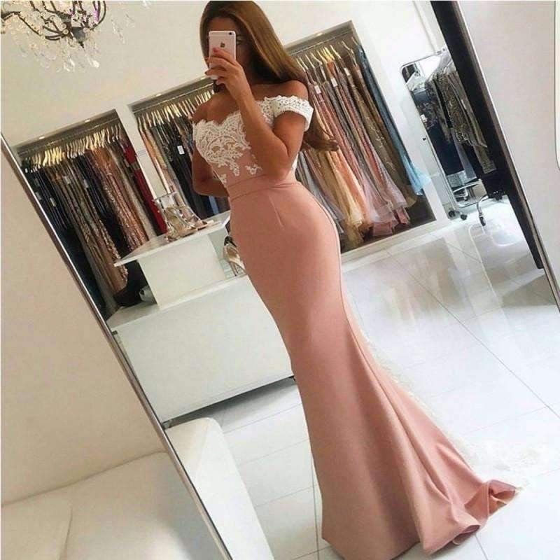 Pink 2019 Mermaid Off The Shoulder Satin Lace Backless Prom Gown prom Dresses