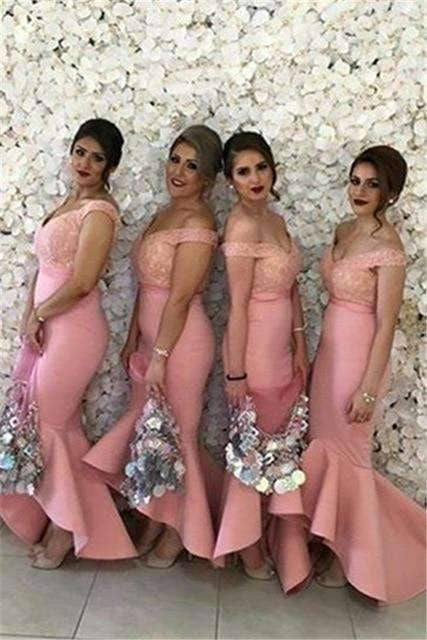 Pink 2019  Mermaid V-neck Off The Shoulder Appliques Lace Long Wedding Party Dresses