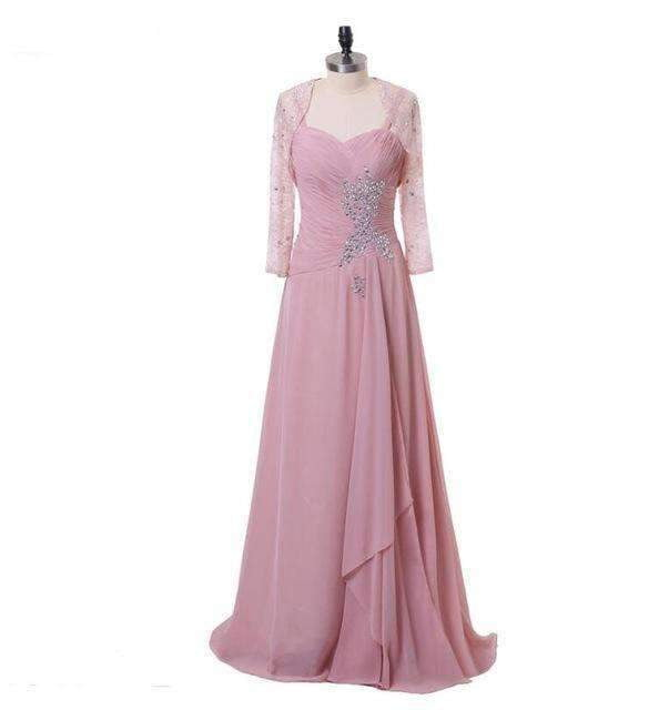 Pink 2019 Mother Of The Bride Dresses A-line Chiffon Beaded With Jacekt Long Mother Dresses For Weddings