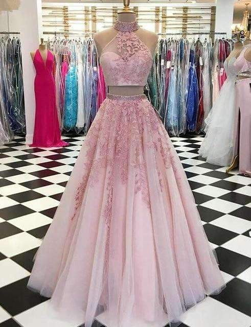Pink 2019 Prom Dresses A-line Halter Tulle Lace Beaded Two Pieces Party Maxys Long Prom Gown Evening Dresses