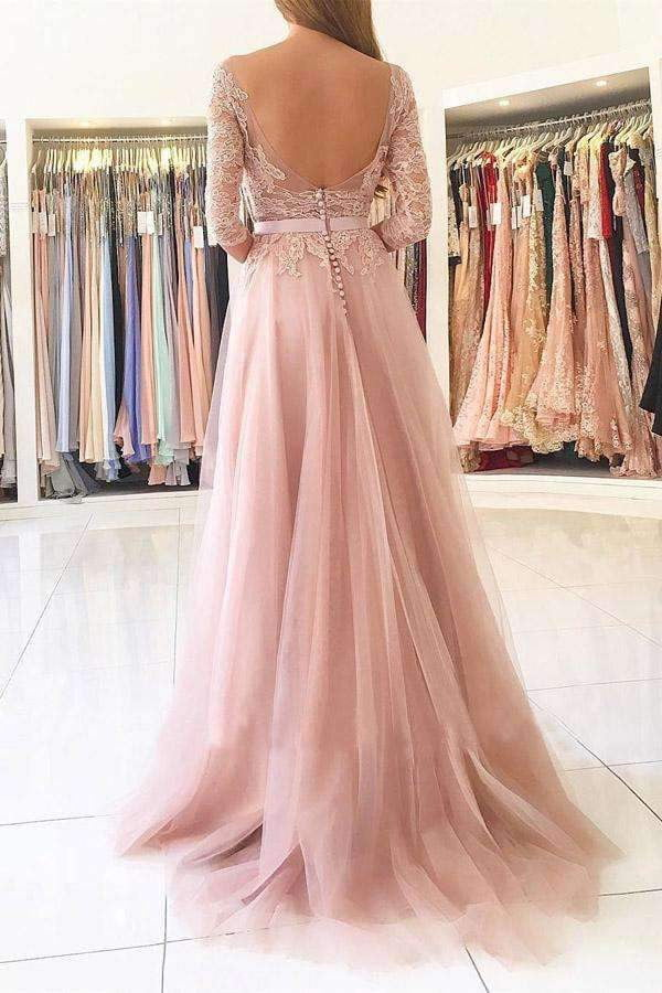 Pink A Line Brush Train 3/4 Sleeve Backless Layers Aplliques Prom Dress,Party Dress P454
