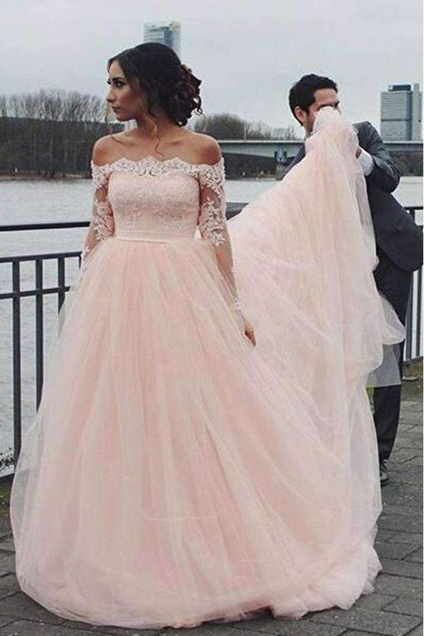 Pink A Line Brush Train Off Shoulder Long Sleeve Lace Wedding Dress,Perfect Wedding Gowns W280