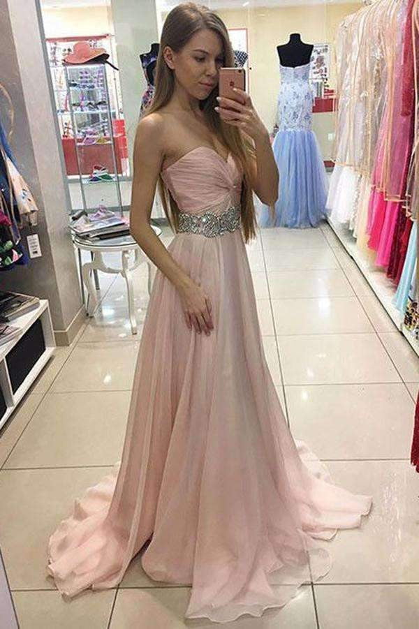 Pink A Line Brush Train Sweetheart Strapless Sleeveless Layers Chiffon Prom Dress,Party Dress P398
