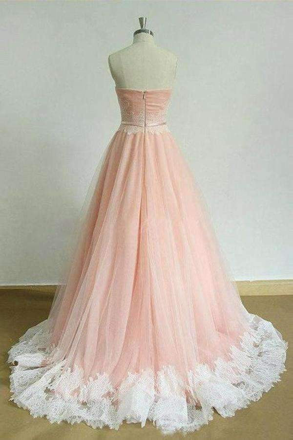 Pink A Line Brush Train Sweetheart Strapless Sleeveless Layers Prom Dress,Party Dress P437