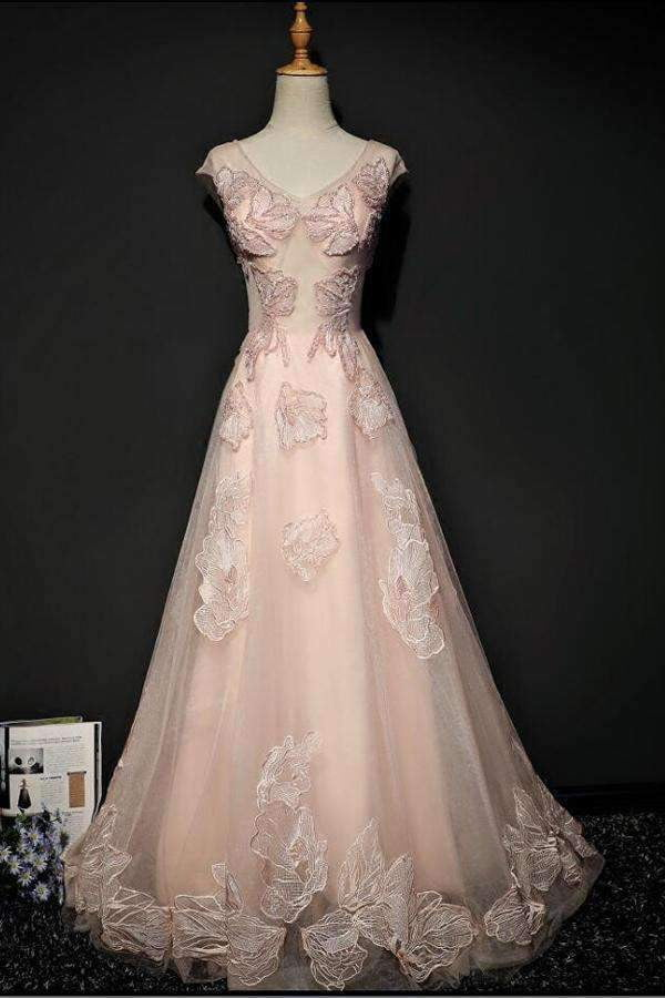 Pink A Line Brush Train V Neck Capped Sleeve Lace Up Appliques Prom Dress,Party Dress P418