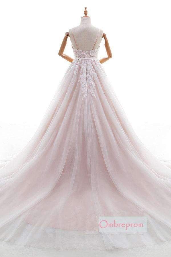 Pink A Line Chapel Train Sweetheart Sleeveless Applique Wedding Dress,Wedding Dress W259