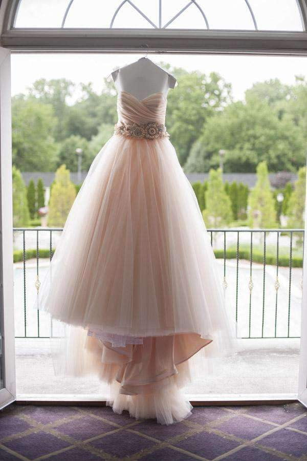 Pink A Line Chapel Train Sweetheart Sleeveless Layers Organza Wedding Dress,Beach Wedding Dress W240