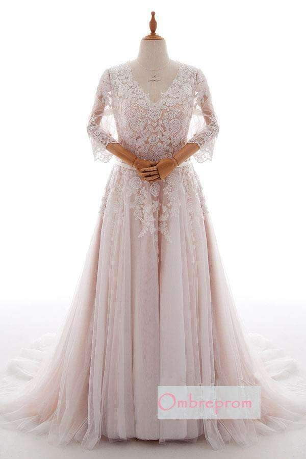 Pink A Line Chapel Train V Neck Long Sleeve Applique Wedding Dress,Wedding Dress W260