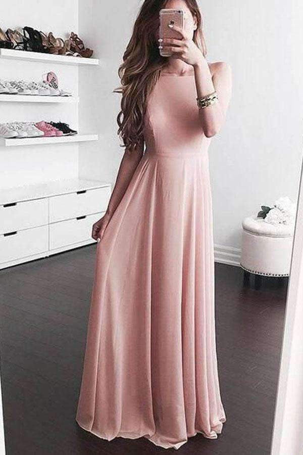 Pink A Line Floor Length Sleeveless Chiffon Prom Dress,Party Dress P444