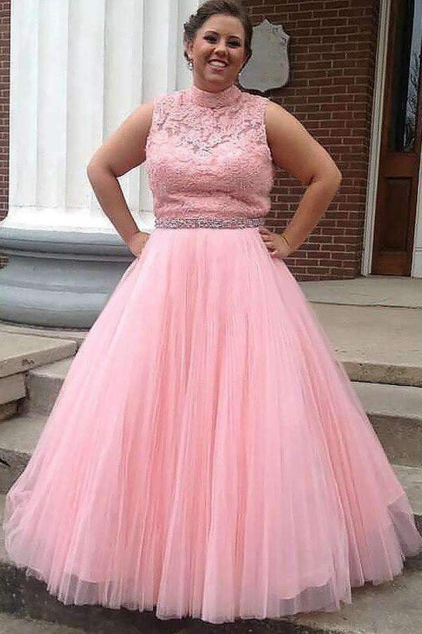Pink A Line Floor Length Sleeveless High Neck Tulle Appliques Plus Size Prom Dresses S15