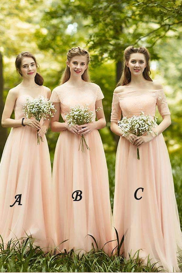 Pink A Line Floor Length Sweetheart Sleeveless Chiffon Bridesmaid Dresses B292