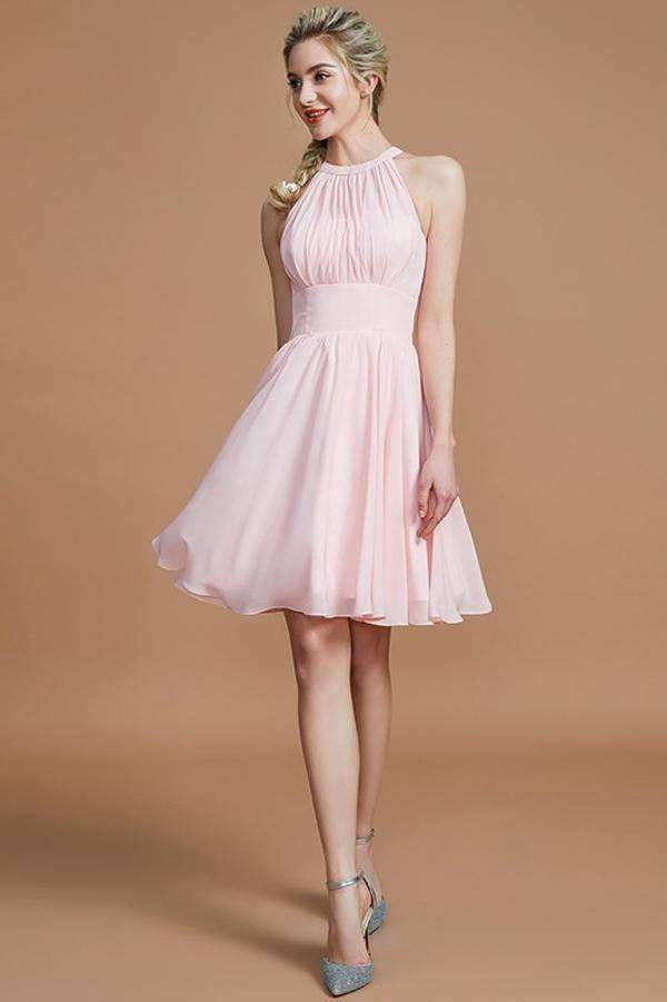 Pink A Line Knee Length Halter Sleeveless Chiffon Bridesmaid Dress, Wedding Party Dress B320