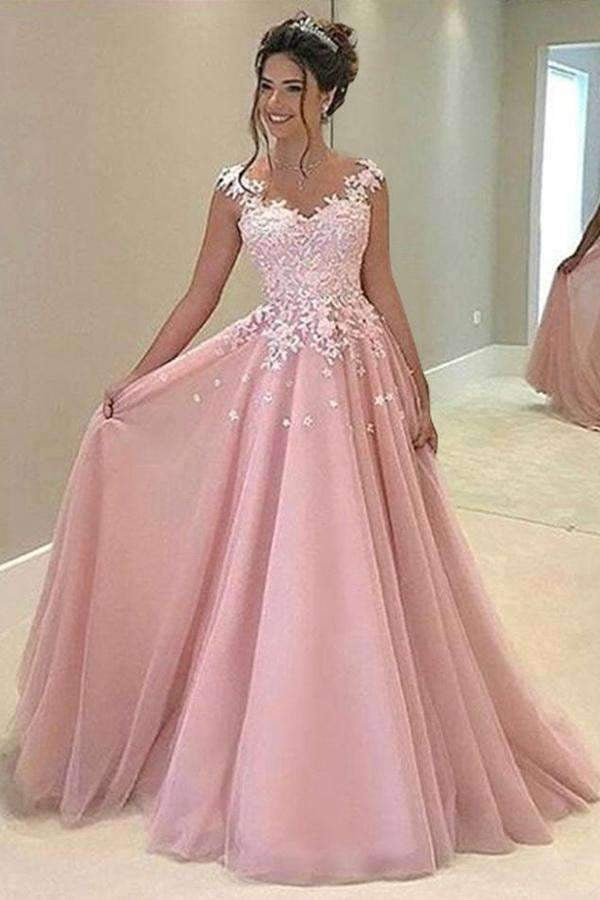 Pink A Line/Princess Floor Length V Neck Sleevelss Mid Back Appliques Evening/Prom Dress P53