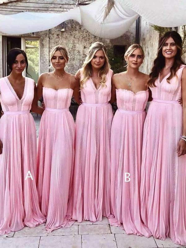 Pink Chiffon Mismatched Charming Elegant Long Bridesmaid Dresses, AB4022