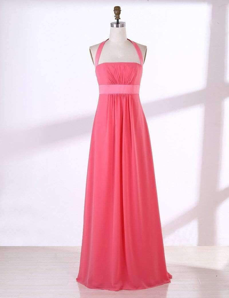 Pink Halter Chiffon Bridesmaid Dresses A Line Long Prom Dresses